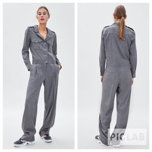 Zara grey long jumpsuit with pockets